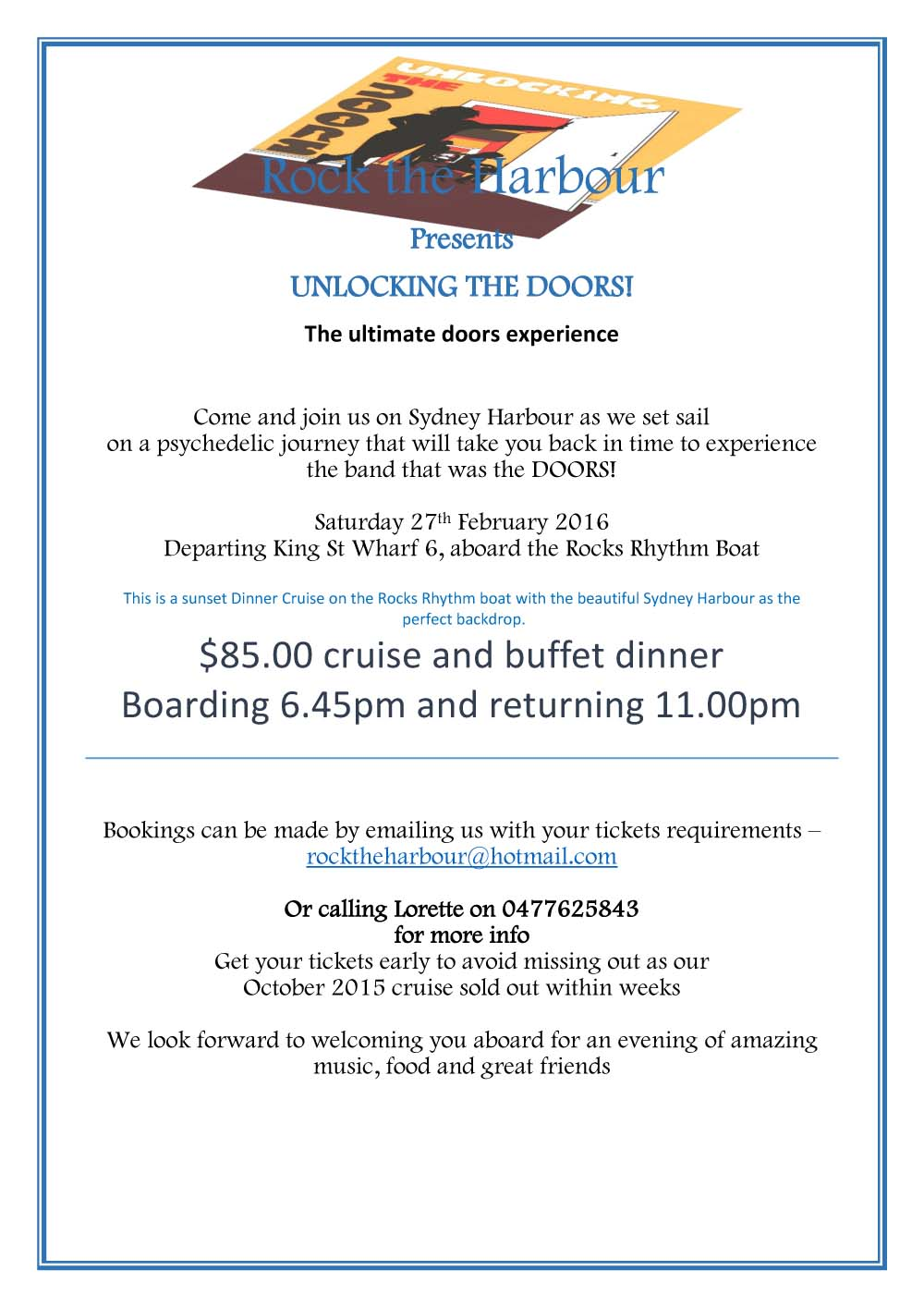 Doors SYDNEY HARBOUR CRUISE 2016 flyers