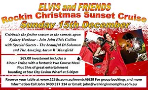 Elvis & friends ~ Rockin Christmas Sunset Cruise Sydney 15th Dec 2019